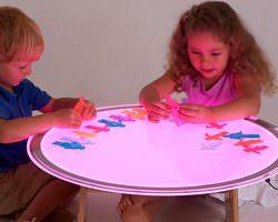 mesa de luz redonda colores